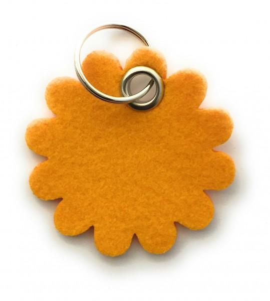 Blume - Rund - Filz-Schlüsselanhänger - Farbe: gelb - optional mit Gravur / Aufdruck