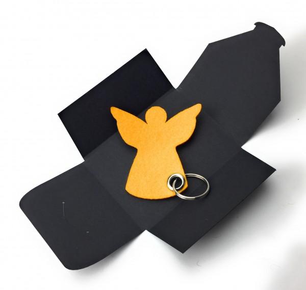 Schlüsselanhänger aus Filz optional mit Namensgravur - Engel / Weihnachten - safrangelb als Schlüsse