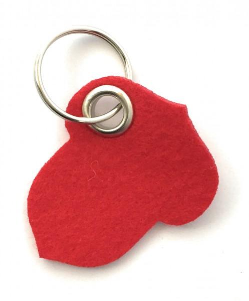 Hasel-Nuss - Filz-Schlüsselanhänger - Farbe: rot - optional mit Gravur / Aufdruck