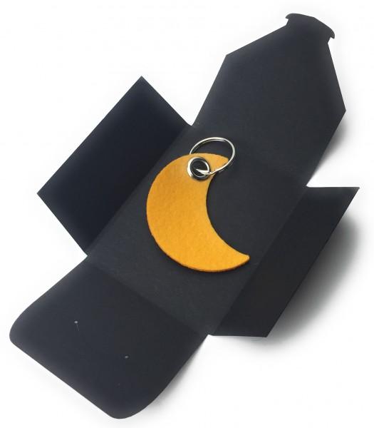 Schlüsselanhänger aus Filz optional mit Namensgravur - Mond / Nacht - safrangelb als Schlüsselanhän