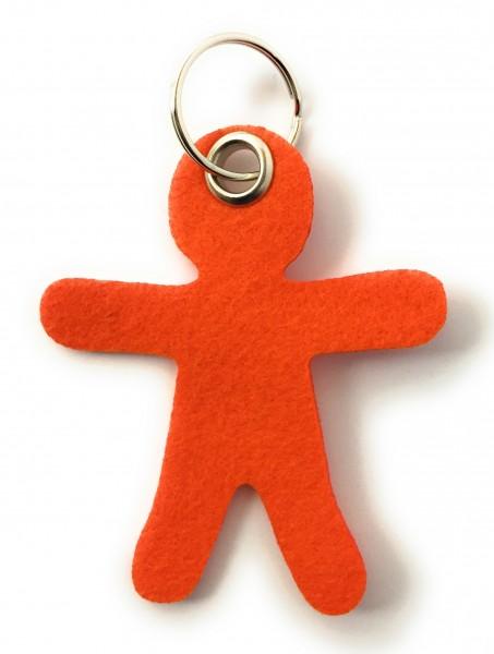 Lebkuchen - Männchen - Filz-Schlüsselanhänger - Farbe: orange - optional mit Gravur / Aufdruck