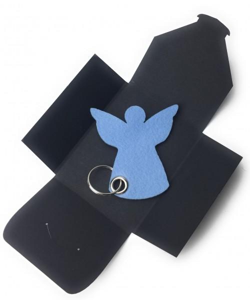 Schlüsselanhänger aus Filz optional mit Namensgravur - Engel / Weihnachten - eisblau als Schlüsselan