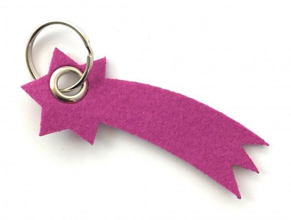 Sternschnuppe - Filz-Schlüsselanhänger - Farbe: magenta - optional mit Gravur / Aufdruck