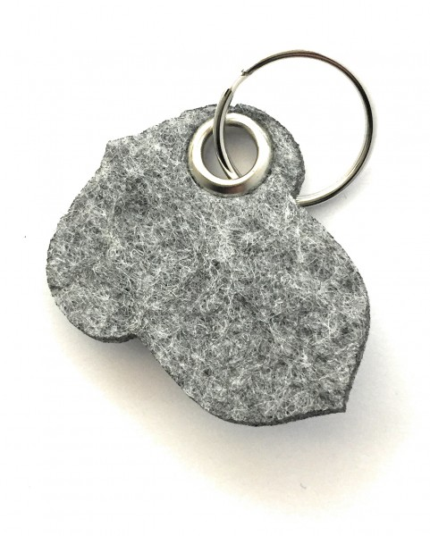 Hasel-Nuss - Filz-Schlüsselanhänger - Farbe: grau meliert - optional mit Gravur / Aufdruck