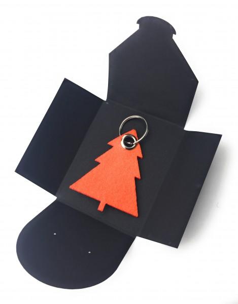 Schlüsselanhänger aus Filz optional mit Namensgravur - Tannenbaum / Weihnachtsbaum - orange als Sch