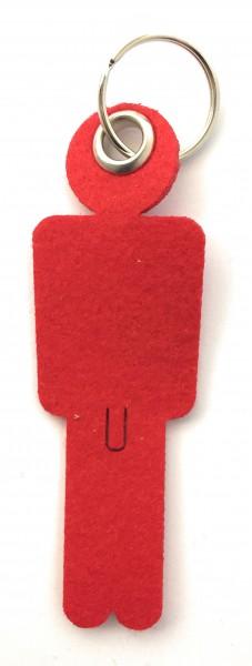 Mann / His - Filz-Schlüsselanhänger - Farbe: rot - optional mit Gravur / Aufdruck