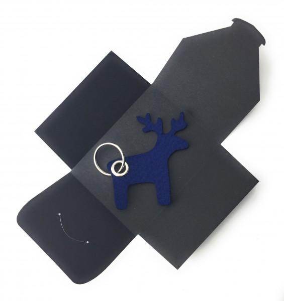 Schlüsselanhänger aus Filz optional mit Namensgravur - Elch / Weihnachten - marineblau als Schlüsse