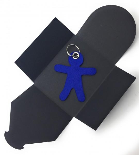 Schlüsselanhänger aus Filz optional mit Namensgravur - Figur / Lebkuchenmännchen - königsblau als S