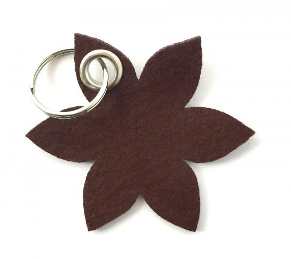 Blume - Spitz - Filz-Schlüsselanhänger - Farbe: braun - optional mit Gravur / Aufdruck