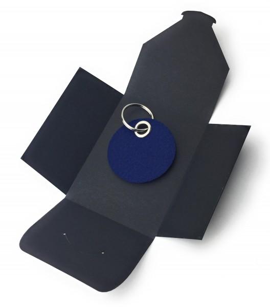 Schlüsselanhänger aus Filz optional mit Namensgravur - Kreis / Scheibe - marineblau als Schlüsselan