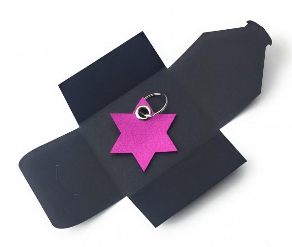 Schlüsselanhänger aus Filz optional mit Namensgravur - 6eck-Stern - pink / magenta als Schlüsselanh