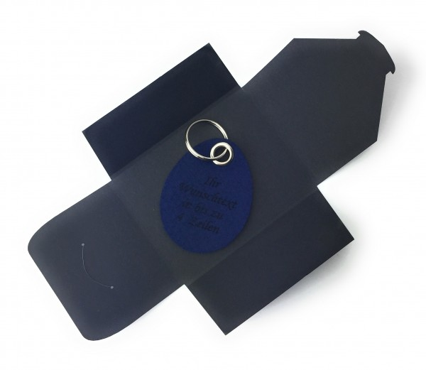 Schlüsselanhänger aus Filz optional mit Namensgravur - Oster-Ei / Ostern - marineblau als Schlüssela