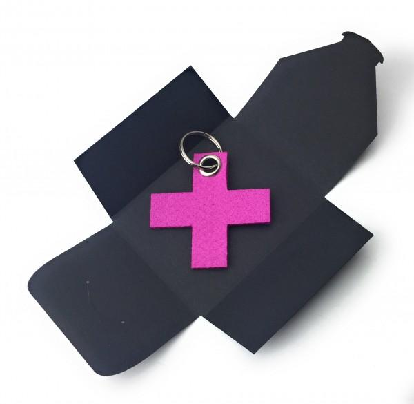 Schlüsselanhänger aus Filz optional mit Namensgravur - X / Kreuz klein - pink / magenta als Schlüsse