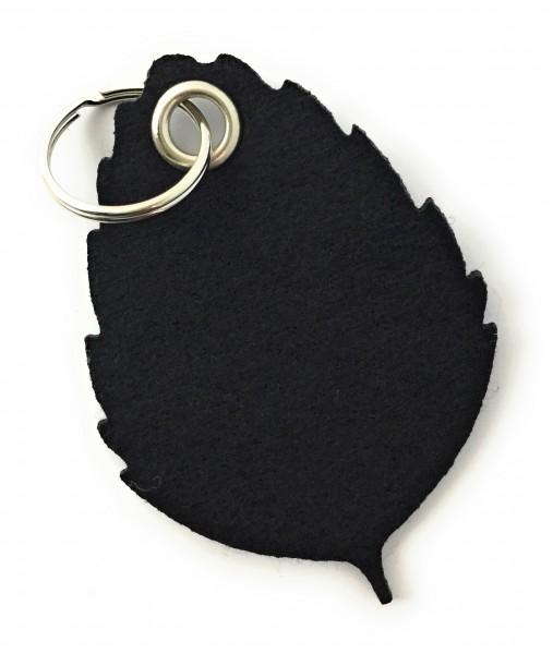 Blatt / Baum / Laub - Filz-Schlüsselanhänger - Farbe: schwarz - optional mit Gravur / Aufdruck
