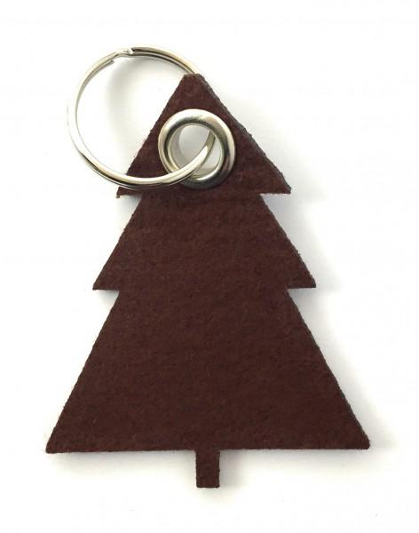 Tannenbaum / Nadelbaum groß - Filz-Schlüsselanhänger - Farbe: braun - optional mit Gravur / Aufdruck