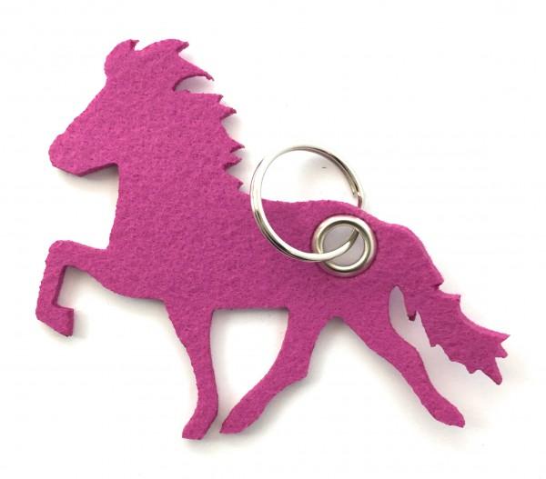 Island -Pferd / Reiten - Filz-Schlüsselanhänger - Farbe: magenta - optional mit Gravur / Aufdruck