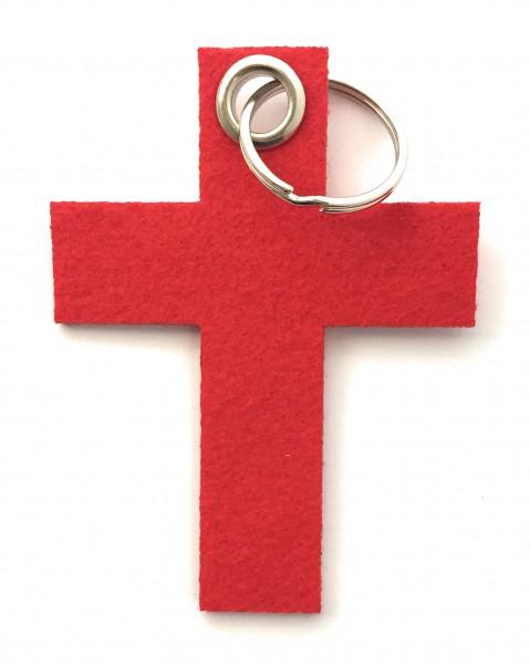 Kreuz groß - Filz-Schlüsselanhänger - Farbe: rot - optional mit Gravur / Aufdruck