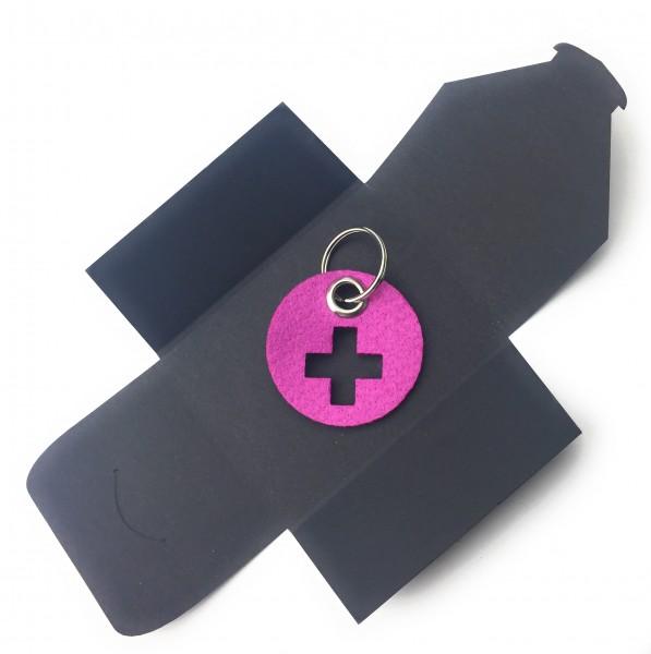 Schlüsselanhänger aus Filz - Kreis / Scheibe / mit Kreuz - pink / magenta als Schlüsselanhänger / Ko