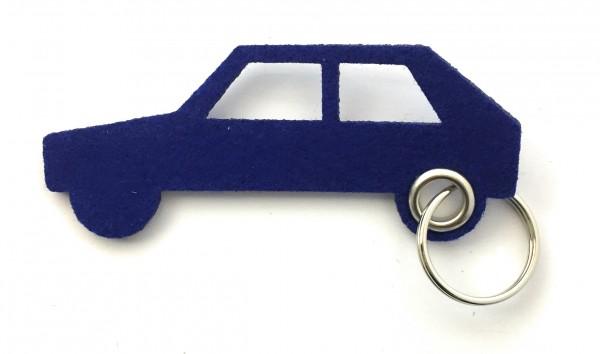 Auto - retro - Filz-Schlüsselanhänger - Farbe: royalblau - optional mit Gravur / Aufdruck