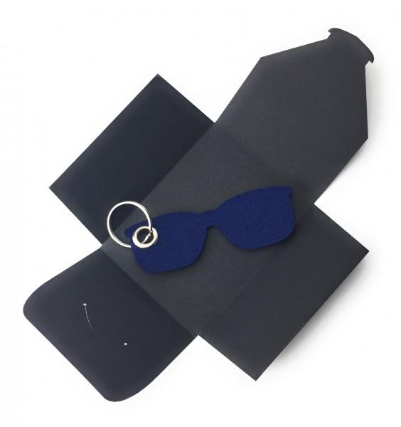 Schlüsselanhänger aus Filz optional mit Namensgravur - Sonnen-Brille / Urlaub - marineblau als Schl