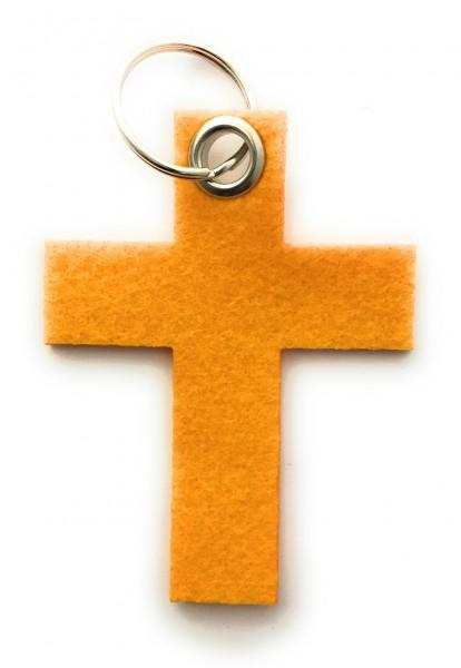 Kreuz groß - Filz-Schlüsselanhänger - Farbe: gelb - optional mit Gravur / Aufdruck