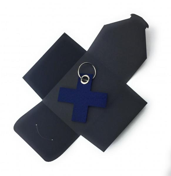 Schlüsselanhänger aus Filz optional mit Namensgravur - X / Kreuz klein - marineblau als Schlüsselanh