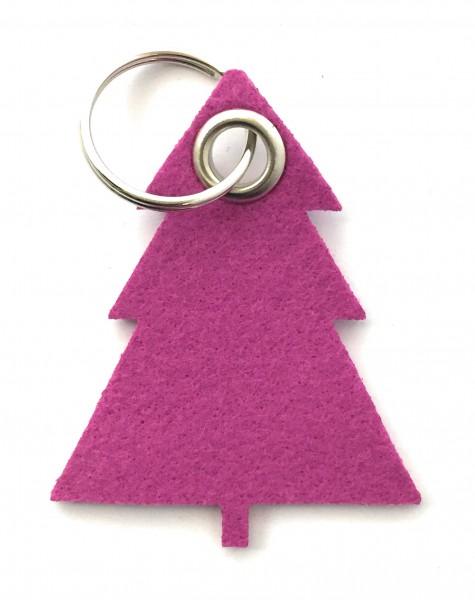 Tannenbaum / Nadelbaum groß - Filz-Schlüsselanhänger - Farbe: magenta - optional mit Gravur / Aufdru