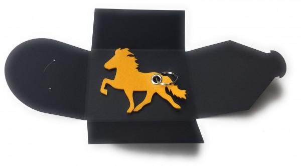 Schlüsselanhänger aus Filz optional mit Namensgravur - Island-Pferd / Reiter - safrangelb als Schlüs