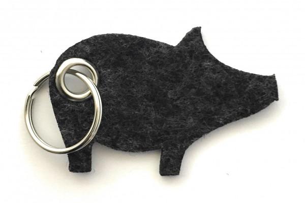 Glücks-Schwein - Filz-Schlüsselanhänger - Farbe: schwarz meliert - optional mit Gravur / Aufdruck