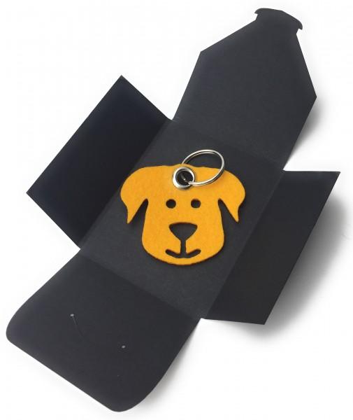 Schlüsselanhänger aus Filz - Hunde-Gesicht / Tier - safrangelb als Schlüsselanhänger / Kofferanhäng