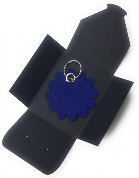 Schlüsselanhänger aus Filz optional mit Namensgravur - Blume rund / Blüte - königsblau als Schlüsse