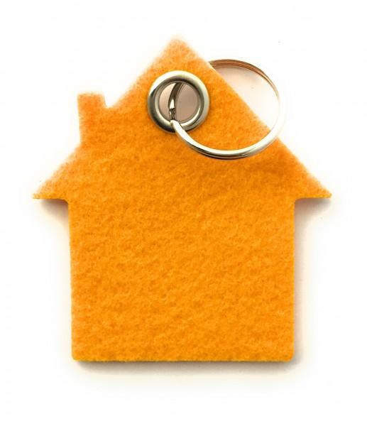 Haus - Filz-Schlüsselanhänger - Farbe: gelb - optional mit Gravur / Aufdruck