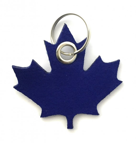 Ahorn-Blatt / Kanada - Filz-Schlüsselanhänger - Farbe: royalblau - optional mit Gravur / Aufdruck