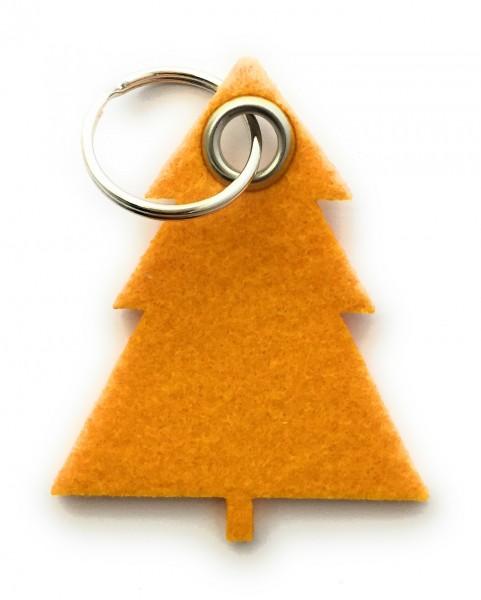 Tannenbaum / Nadelbaum groß - Filz-Schlüsselanhänger - Farbe: gelb - optional mit Gravur / Aufdruck