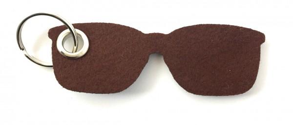 Brille - Filz-Schlüsselanhänger - Farbe: braun - optional mit Gravur / Aufdruck