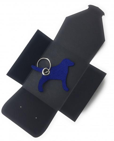 Schlüsselanhänger aus Filz optional mit Namensgravur - Hund / Tier - königsblau als Schlüsselanhänge