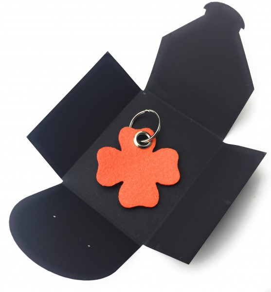 Schlüsselanhänger aus Filz optional mit Namensgravur - Glück / Kleeblatt - orange als Schlüsselanhän