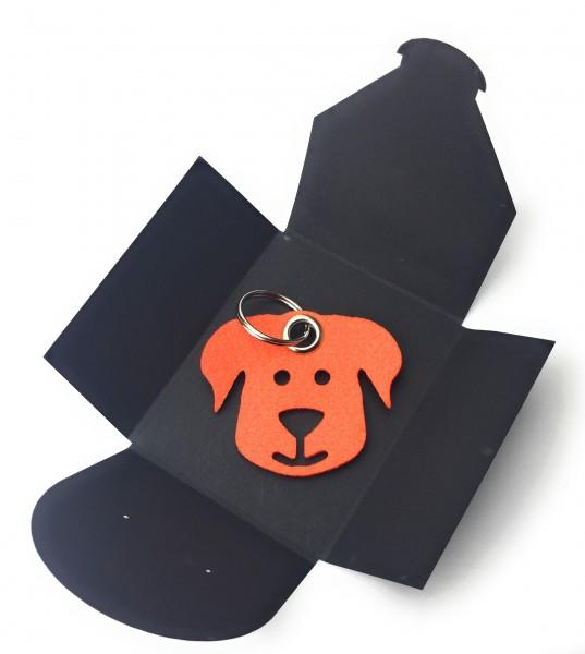 Schlüsselanhänger aus Filz - Hunde-Gesicht / Tier - orange als Schlüsselanhänger / Kofferanhänger u