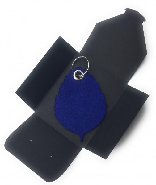 Schlüsselanhänger aus Filz optional mit Namensgravur - Blatt / Laub / Baum - königsblau als Schlüss