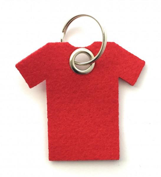 T-Shirt - Filz-Schlüsselanhänger - Farbe: rot - optional mit Gravur / Aufdruck