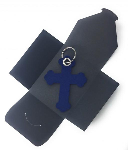 Schlüsselanhänger aus Filz optional mit Namensgravur - Kreuz Barock - marineblau als Schlüsselanhäng