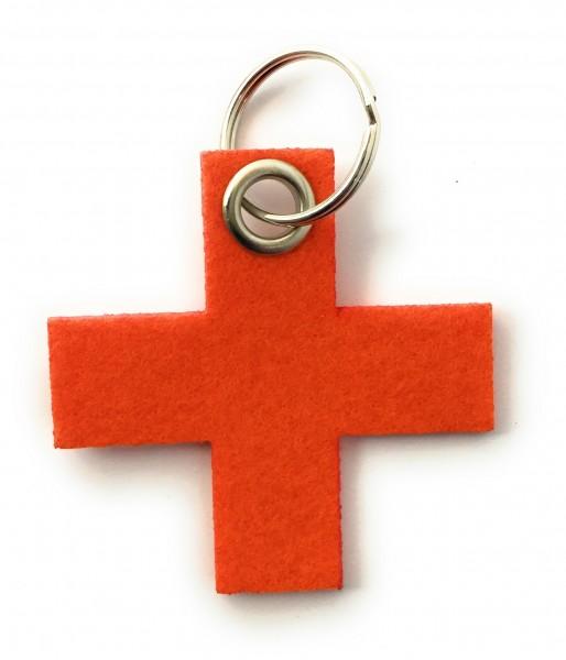 Kreuz, klein / X - Filz-Schlüsselanhänger - Farbe: orange - optional mit Gravur / Aufdruck