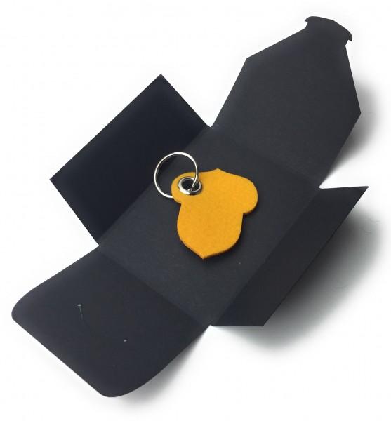 Schlüsselanhänger aus Filz optional mit Namensgravur - Hasel-Nuss / Garten - safrangelb als Schlüss