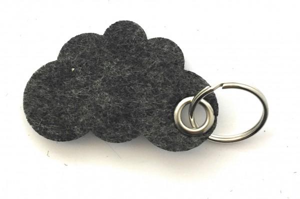 Wolke / Cloud - Filz-Schlüsselanhänger - Farbe: schwarz meliert - optional mit Gravur / Aufdruck