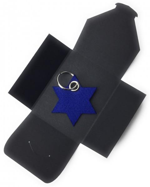 Schlüsselanhänger aus Filz optional mit Namensgravur - 6eck-Stern - königsblau als Schlüsselanhänge