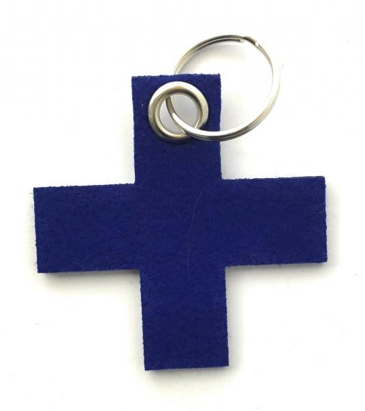Kreuz, klein / X - Filz-Schlüsselanhänger - Farbe: royalblau - optional mit Gravur / Aufdruck