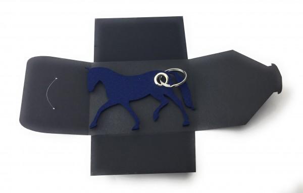 Schlüsselanhänger aus Filz optional mit Namensgravur - Pferd / Dressur / Reiten - marineblau als Sch