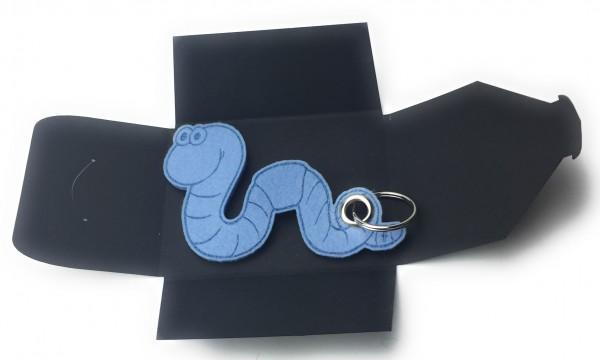 Schlüsselanhänger aus Filz - Regen-Wurm / Tier - eisblau als Schlüsselanhänger / Kofferanhänger und