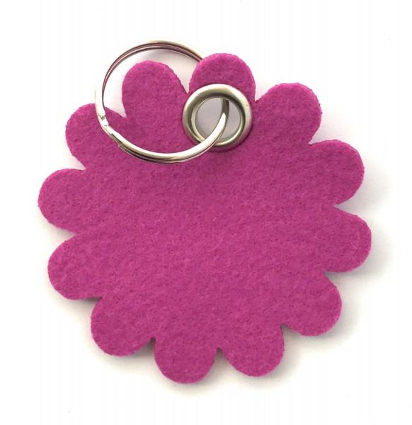 Blume - Rund - Filz-Schlüsselanhänger - Farbe: magenta - optional mit Gravur / Aufdruck