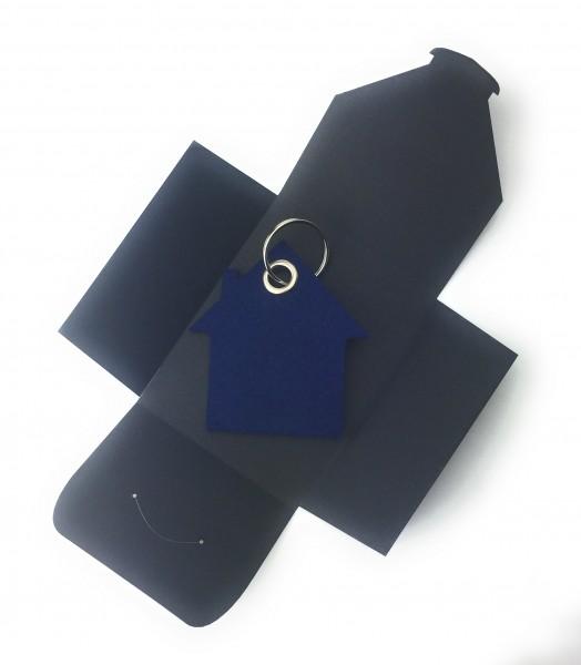 Schlüsselanhänger aus Filz optional mit Namensgravur - Haus - marineblau als Schlüsselanhänger / Kof